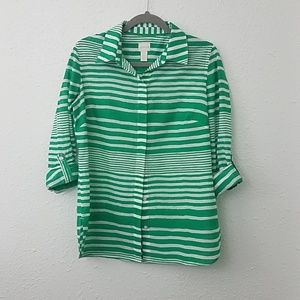 Chicos 0 green  stripe blouse Button front shirt